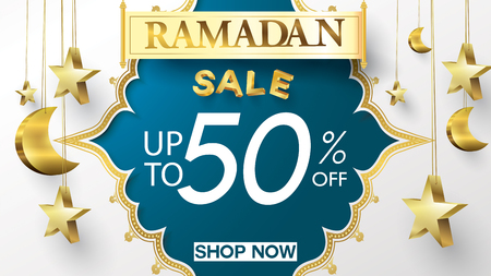 Eid Mubarak or ramadan kareem banner sale background and template. Copy space for discount tag or content promo product - Vector Çizim