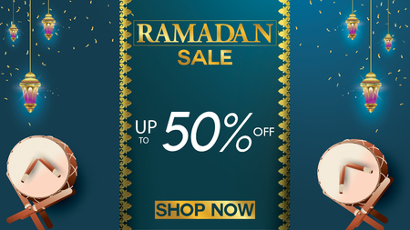 Eid Mubarak or ramadan kareem banner sale background and template. Copy space for discount tag or content promo product - Vector 向量圖像