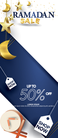 Eid Mubarak or ramadan kareem for roll banner, x banner, or roll up banner sale background and template. Copy space for discount tag or content promo product - Vector