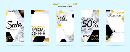 set of stories template pack with luxury trendy marble texture, can use for sale banner, photo, mobile app, website, landing page, flyer, fashion ads, promotion background. - Vector