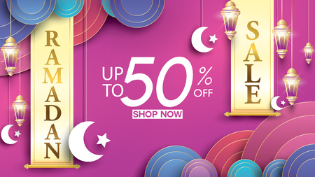 Eid Mubarak or ramadan kareem banner sale background and template. Copy space for discount tag or content promo product - Vector Vectores
