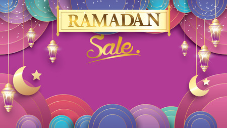 Eid Mubarak or ramadan kareem banner sale background and template. Copy space for discount tag or content promo product - Vector Иллюстрация