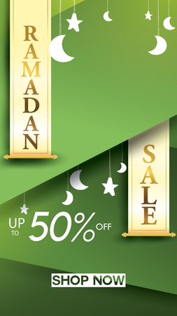 Eid Mubarak or ramadan kareem for story sale banner, poster, concept, background, template. Copy space for discount tag or content promo product - Vector