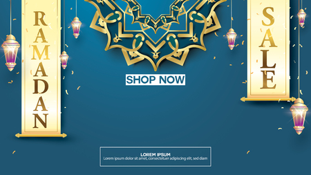 Eid Mubarak or ramadan kareem banner sale background and template. Copy space for discount tag or content promo product - Vector Illusztráció