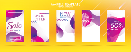 story with wave liquid and gradient splashes collection for , can use for sale banner background, photo, summer sale , website, mobile app, poster, flyer, coupon, gift card - Vector Banque d'images - 123255270