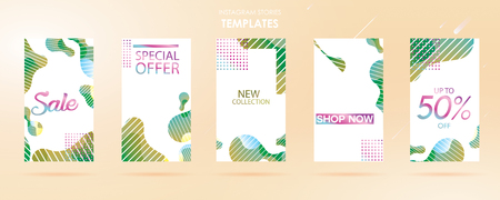 story with wave liquid and gradient splashes collection for , can use for sale banner background, photo, summer sale , website, mobile app, poster, flyer, coupon, gift card - Vector  イラスト・ベクター素材