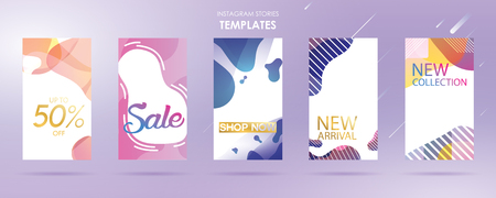 story with wave liquid and gradient splashes collection for , can use for sale banner background, photo, summer sale , website, mobile app, poster, flyer, coupon, gift card - Vector Banque d'images - 123255368
