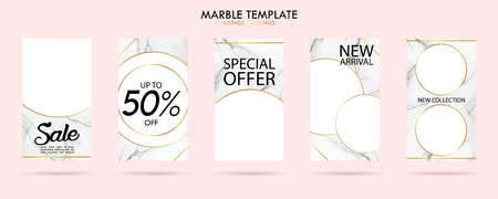 set of social media stories template pack with luxury trendy marble texture, can use for sale banner, photo, mobile app, website, landing page, fashion ads, promotion background. - Vector Banque d'images - 123255443