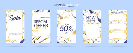 set of social media stories template pack with luxury trendy marble texture, can use for sale banner, photo, mobile app, website, landing page, fashion ads, promotion background. - Vector Banque d'images - 123255447