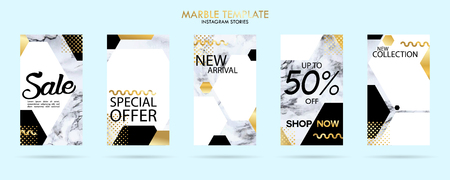set of stories template pack with luxury trendy marble texture, can use for sale banner, photo, mobile app, website, landing page, flyer, fashion ads, promotion background. - Vector Banque d'images - 123255471