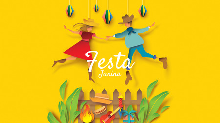 Festa Junina festival design on paper art and flat style with Party Flags and Paper Lantern, Can use for Greeting Card, Invitation or Holiday Poster. - Vector Vektorové ilustrace