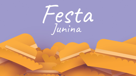 Festa Junina festival design on paper art and flat style with simple Mexican Hat. - Vector Vektorové ilustrace