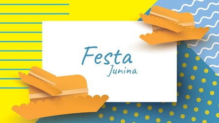 Festa Junina festival design on paper art and flat style with simple Mexican Hat. - Vector