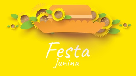 Festa Junina festival design on paper art and flat style with simple Mexican Hat and sunflower for banner or poster concept. - Vector