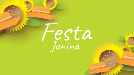 Festa Junina festival design on paper art and flat style with simple Mexican Hat and sunflower for banner or poster concept. - Vector Vektorové ilustrace
