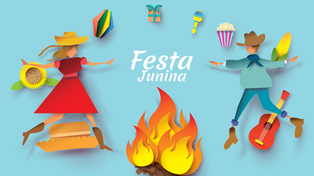 Festa Junina festival design on paper art and flat style with couple dance man and girl in love on sunflower. Can use for Greeting Card, Invitation or Holiday Poster. - Vector