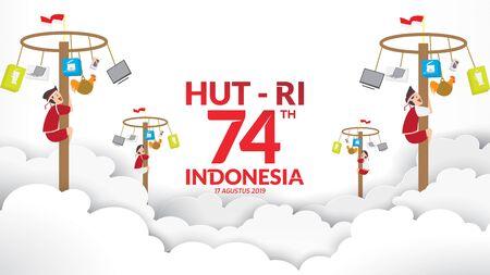Les jeux traditionnels de l'Indonésie pendant le jour de l'indépendance, ont grimpé la noix d'arec avec bonheur. célébration de la liberté. - Vecteur