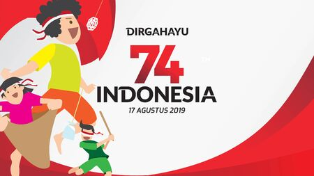 Indonesia traditional games during independence day, climbed the areca nut or greasy pole,Cracker eating, egg and spoon race, tug of war, racing inside sack happily. celebration of freedom. - Vector