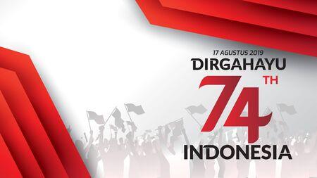 17 août. Carte de voeux de joyeux jour de l'indépendance de l'Indonésie, bannière et logo de fond de texture. - Vecteur