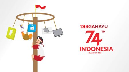 Indonesia traditional games during independence day, climbed the areca nut happily. celebration of freedom. - Vector