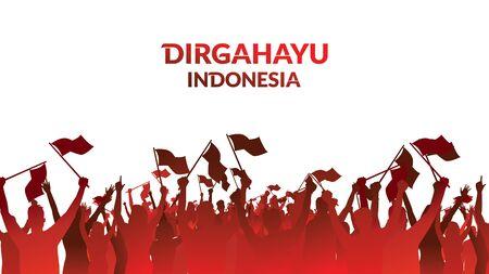 17 de agosto. Logotipo de fondo de textura, banner y tarjeta de felicitación de feliz día de la independencia de Indonesia. - Vector