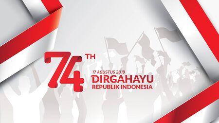 17 août. Carte de voeux de joyeux jour de l'indépendance de l'Indonésie, bannière et logo de fond de texture. - Vecteur Logo