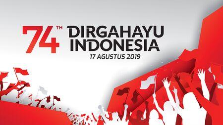17 agosto. Indonesia Happy Independence Day biglietto di auguri, banner e logo di sfondo texture. - Vettore