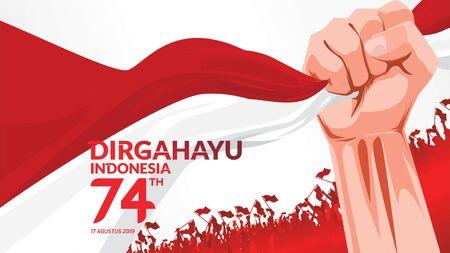 17 de agosto. Tarjeta de felicitación feliz del día de la independencia de Indonesia con las manos apretadas, símbolo del espíritu de la libertad. Úselo para banner y fondo. - Vector
