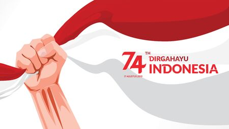 17 August. Indonesia Happy Independence Day greeting card with hands clenched, Spirit of freedom symbol. Use for banner, and background . - Vector Illustration