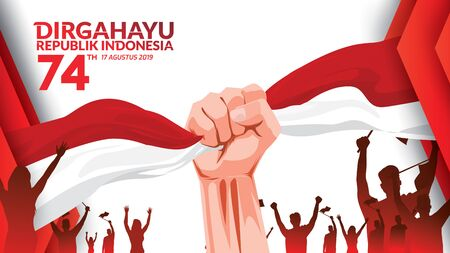 17 August. Indonesia Happy Independence Day greeting card with hands clenched, Spirit of freedom symbol. Use for banner, and background . - Vector Ilustração