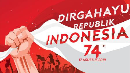 17 août. Carte de voeux de joyeux jour de l'indépendance de l'Indonésie avec les mains serrées, symbole de l'esprit de liberté. Utiliser pour la bannière et l'arrière-plan. - Vecteur
