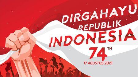 17 augustus. Indonesië Happy Independence Day wenskaart met gebalde handen, symbool van de geest van vrijheid. Gebruik voor banner en achtergrond. - Vector