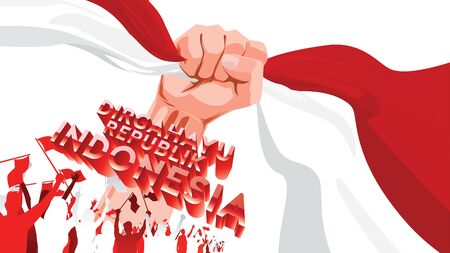 17 August. Indonesia Happy Independence Day greeting card with hands clenched, Spirit of freedom symbol. Use for banner, and background . - Vector Vectores