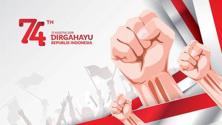 17 agosto. Cartolina d'auguri di felice festa dell'indipendenza dell'Indonesia con le mani serrate, simbolo dello spirito di libertà. Utilizzare per banner e sfondo. - Vettore