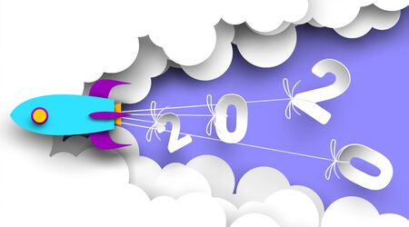 2020 New Year number design with rocket in paper cut and craft style. Symbol of achieve goals for 2020. Start up company concept. - Vector. Vector Illustration