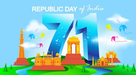 71 years india republic day with monuments. - Vector 일러스트