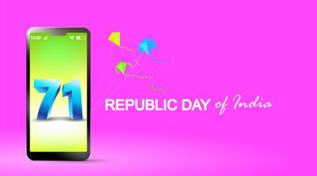71 years india republic day in mobile phone. 26 january celebration date. - Vector