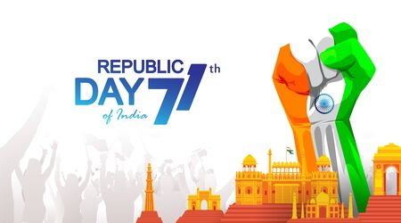 71 years india republic day with hand fist in national flag color theme. Monuments background with people. - Vector