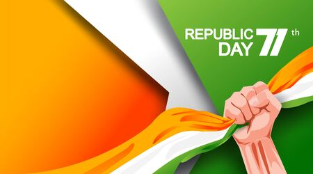 71 years india republic day with hand fist and waving flag. - Vector Imagens - 140032960