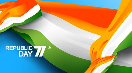 71 years india republic day with national flag color theme. Abstract waving flag background of india. copy space. - Vector
