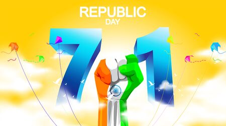 71 years india republic day with hand fist and waving flag. - Vector
