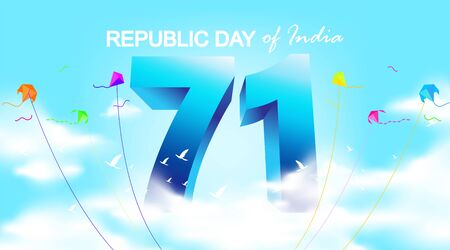 71 years india republic day background with festive flag and confetti. Copy space for india national or independence day event. - Vector