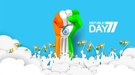 71 years india republic day with hand fist in national flag color theme. People cheering and celebrating with holding flag. Abstract modern background national day. - Vector