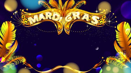 Mardi gras carnival mask poster background with bokeh effect. Luxury and glowing banner. - Vector