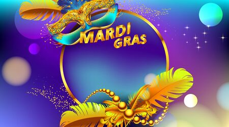Mardi gras carnival mask poster with circle frame for copy space text. Use for poster greeting card, web, flyer, banner. - Vector