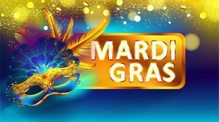 Mardi gras carnival mask poster background with bokeh effect for celebration greeting card, banner, flyer. - Vector Imagens - 140032909
