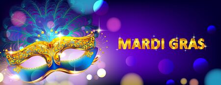 Mardi gras carnival mask poster background with bokeh effect for celebration greeting card, banner, flyer. - Vector Imagens - 140032911