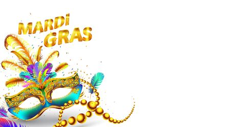 Mardi gras carnival mask poster isolated on white background. Use for greeting card, web, flyer, banner, ad, ads. - Vector Stock Illustratie