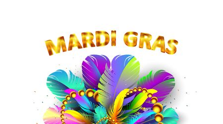 Mardi gras carnival banner with bird feathers and necklace poster isolated on white background. Use for greeting card, web, flyer, ad, ads. - Vector Stock Illustratie
