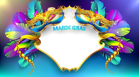 Mardi gras carnival mask poster background with copy space for text. Bokeh effect for celebration greeting card, banner, flyer. - Vector